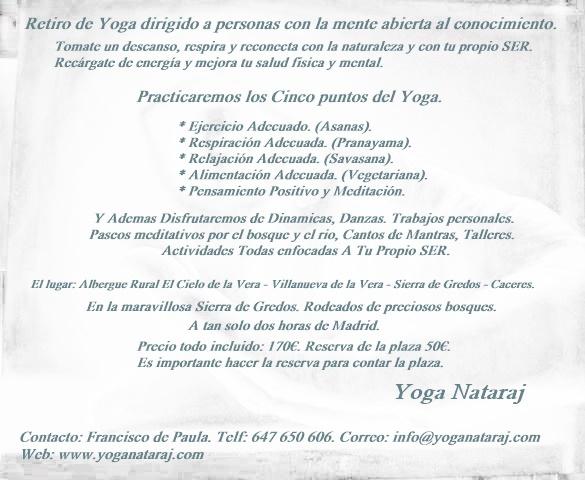 retiro de yoga en Yuncos